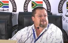 A YouTube screengrab of environmental health expert Jacobus Roets testifying at the state capture commission on 4 August 2020. Picture: SABC/YouTube