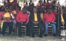 President Zuma seated alongside SACP, Sanco & Cosatu leaders at Cosatu's May Day rally in Bloemfontein on 1 May 2017. Picture: Kgothatso Mogale/EWN.