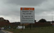 An e-toll sign on the N1 in Johannesburg. Picture: Christa van der Walt/EWN