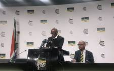 ANC secretary-general Ace Magashule and spokesperson Pule Mabe at the party's post NEC lekgotla briefing. Picture: Clement Manyathela/ EWN.
