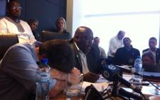 HCI's John Copelyn breaks down during the AGM. He could not complete reading his statement. Picture: Carmel Loggenberg/EWN.