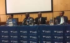 Sars commissioner Tom Moyane addressing the media in Pretoria. Picture: Clement Manyathela/EWN.