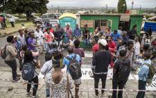 Roughly 20 #RhodesMustFall students protest against a lack of spaces in residences at UCT by erecting a shack on campus. Picture: Thomas Holder/EWN.