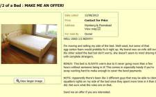 1/2 of a Bed: Make me an offer! After finding out his wife had cheated on him, one man takes unusual measures to get revenge. Picture: gumtree.com