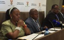 Members of the Inter-ministerial Committee on the Local Government elections brief the media on the state of the readiness as the nation prepares to go to the polls in August. Picture: Vumani Mkhize/EWN.