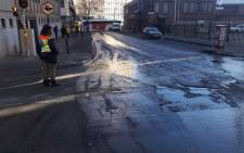 Icy roads in Johannesburg CBD. Picture: @JMPDSafety/Twitter.