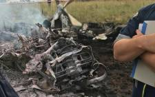 The aircraft burst into flames and the victims haven't yet been identified. Picture: @EMER_G_MED.
