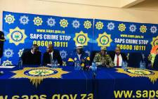 Police Minister Bheki Cele and National Police Commissioner Khehla Sitole announced the so-called stabilisation campaign to crack down on aggravated robberies in Tembisa. Picture: @SAgovnews/Twitter