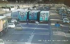 Authorities say they'll take action against truck drivers who attempted to block some roads leading into Cape Town during anti-Zuma protests on 7 April 2017. Picture: @EWNTraffic/Twitter