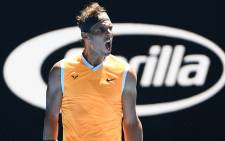 Rafael Nadal celebrates a win. Picture: @AustralianOpen/Twitter