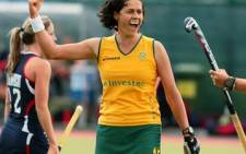 South African striker Pietie Coetzee moments after breaking the world record of 220 goals in test match hockey against the USA in Dublin on 21 June 2011. Picture: Supplied