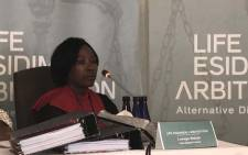 Lesego Baloyi, whose sister Julia Kgatle is one of the mental health patients who survived the deadly transfers, is testifying at the Life Esidimeni arbitration in Parktown, Johannesburg on 4 December 2017. Picture: Masego Rahlaga/EWN