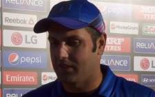 A screengrab picture shows Afghanistan cricket captain Mohammad Nabi in a post match interview after their victory against Scotland in the Cricket World Cup on 26 February 2015.