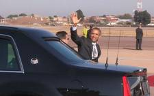 U.S. President Barack Obama waves at the Waterkloof Air Force base on 30 June 2013. Picture: Christa Van der Walt/EWN