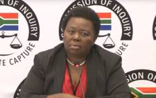 A screengrab of acting GCIS CEO Phumla Williams is giving evidence at the state capture commission of inquiry on 31 August 2018.