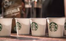 Starbucks espresso cups are displayed at the launch of the coffee giant's first South African branch in Rosebank, Johannesburg on 20 April 2016. Picture: Reinart Toerien/EWN.