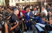 DA leader Mmusi Maimane talks to the media outside Parliament ahead of the State of the Nation Address on 7 February 2019. Picture: @Our_DA/Twitter.