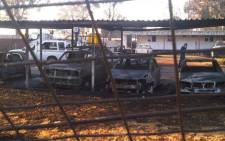 Protesters torched 15 cars at the Eskom depot as they demand for power to be restored. Picture: Twitter