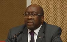 A screengrab shows Finance Minister Nhlanhla Nene at the Nugent Commission of Inquiry on 31 August 2018. Picture: SABC Digital News/youtube.com