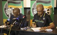 ANC Secretary-General Ace Magashule and National spokesperson Pule Mabe address the media following a meeting of the NEC in Cape Town. Picture: Cindy Archillies/EWN