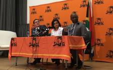 Shamila Batohi (centre) is introduced as the new National Director of Public Prosecutions on 1 February 2019 by Justice Minister Michael Masutha (right) and deputy Justice Minister John Jeffery (left). Picture: Kgomotso Modise/EWN