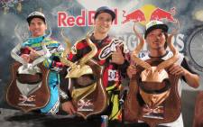 Winner of X-Fighters Freestyle World Tour in Pretoria, South Africa is Clinton Moore from Australia (centre), alongside Clinton Moore from Australia in second place (left) and Taka Higashino from Japan in third place. Picture: Louise McAuliffe/EWN