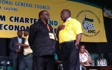 ANC's Secretary General, Gwede Mantashe and deputy president, Cyril Ramaphosa, have a moment at the party's National General Council in Midrand on 9 October 2015. Picture: Govan Whittles/EWN.