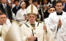 FILE: Pope Francis leads a Christmas Eve mass in St Peter's Basilica to mark the nativity of Jesus Christ on 24 December 2019, at the Vatican. Picture: AFP