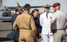 French Defence Minister Florence Parly (centre) oversaw the handover at a ceremony at M'Polo military base in the capital Bangui. Picture: @ florence_parly/Twitter