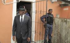 Police Minister Bheki Cele visits the Khayelitsha tavern where seven people were killed by gunmen. Picture: @SAPoliceService/Twitter