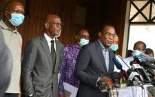 Ivorian opposition spokesperson and candidate Pascal Affi N'Guessan (R) on 1 November 2020 in Abidjan. Picture: AFP