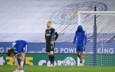 Leicester City goalkeeper Kasper Schmeichel (C) reacts after Newcastle scored their third goal during the English Premier League football match between Leicester City and Newcastle United at King Power Stadium in Leicester, central England on 7 May 2021. Picture: Michael Regan/AFP