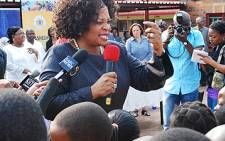 Gauteng Premier Nomvula Mokonyane addressing learners at a local school. Picture: Tshepo Lesole/Eyewitness News