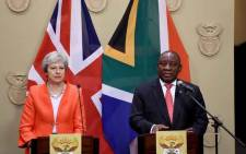 President Cyril Ramaphosa addressing the media alongside British Prime Minister Theresa May at De Tuynhuys, Cape Town office of the Presidency. Picture: @SAgovnews/Twitter.