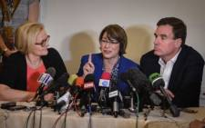 US senators (L-R) Claire McCaskill from Missouri, Amy Klobuchar from Minnesota and Mark R. Warner from Virginia, give a press conference at the National Hotel of Havana, on 17 February 2015. Picture: AFP