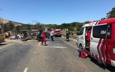 Ten people have been injured in a crash involving four cars outside Stellenbosch. Picture: @ER24EMS/Twitter.