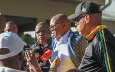 ANC secretary-general Ace Magashule and national spokesperson Pule Mabe addressing the media on 13 May 2019 on the side-lines of the special NEC meeting in Pretoria. Picture: @MYANC/Twitter