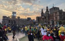 Supporters await the launch of the ANC elections manifesto at Church Square in Pretoria on 27 September 2021. Picture: Abigail Javier/Eyewitness News