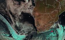 A satellite image from the South African Weather Service shows an approaching cold front, which was expected to make landfall on 23 July 2019. Picture: @SAWeatherServic/Twitter.