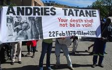 Protesters arrive in court in support of Andries Tatane who was killed during a service delivery protest in Ficksburg. Picture: Taurai Maduna/Eyewitness News