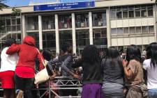 Students protest at the University of Zimbabwe on 20 November, 2017. Picture: EWN