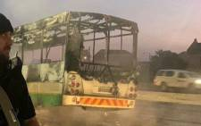 A Golden Arrow bus was petrol-bombed in Mfuleni, Cape Town on Wednesday, 22 July 2020. Picture: Supplied