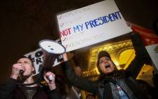 Protesters rally against Donald Trump in Union Square, November 9, 2016 in New York City. Picture: AFP.