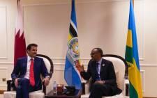 Qatari ruler Sheikh Tamim Bin Hamad Al Thani and Rwanda's President Paul Kagame. Picture: @RDBrwanda/Twitter