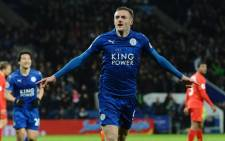 Leicester City striker Jamie Vardy celebrates scoring a goal against Liverpool. Picture: Twitter/@LCFC.