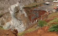 Sink hole at the Lily Mine in Barberton. Picture: Vantage Goldfield