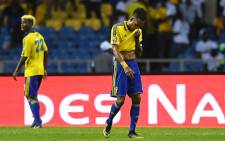 Gabon forward Pierre-Emerick Aubameyang reacts after his side was knocked out of the 2017 Africa Cup of Nations. Picture: AFP