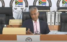Former Eskom CFO Anoj Singh at the state capture commission on 18 March 2021. YouTube screengrab/SABC.