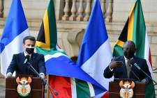 French President Emmanuel Macron and President Cyril Ramaphosa at the Union Buildings in Pretoria on 28 May 2021. Picture: GCIS