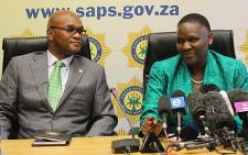Police Minister Nathi Mtethwa and newly appointed National Police Commissioner Riah Phiyega. Picture: Taurai Maduna/EWN